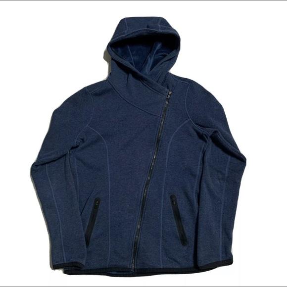 Athleta cozy karma asym fuzzy hoodie women's s zip